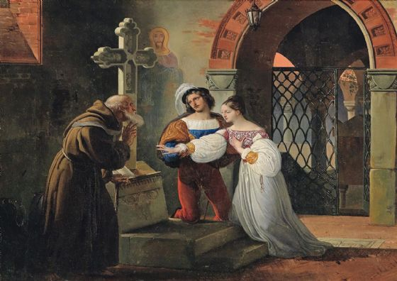 Hayez, Francesco: The Marriage of Romeo and Juliet. Fine Art Print/Poster. Sizes: A4/A3/A2/A1 (003419)